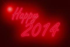 Неоновые света счастливые Нового Года 2014 Стоковое Изображение RF