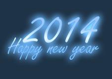 Неоновые света счастливые Нового Года 2014 Стоковое Изображение