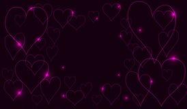 Неоновые сердца Стоковое Изображение RF