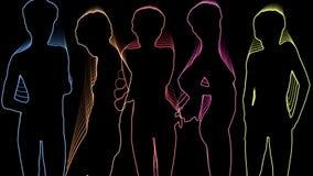 Неоновые танцоры иллюстрация штока