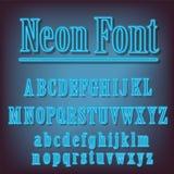 Неоновый голубой алфавит Стоковые Фотографии RF