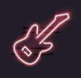 Неоновый знак гитары иллюстрация вектора