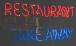 Неоновый знак ресторана Стоковые Изображения RF