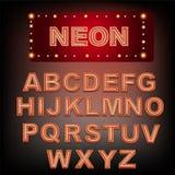 Неоновый красный алфавит Стоковые Фото