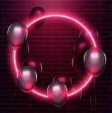 Неоновый круг с черными baloons на кирпичной стене 10 eps иллюстрация вектора