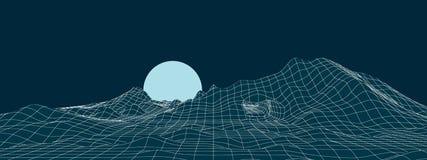 Неоновый ландшафт горы с иллюстрацией луны стоковое фото rf