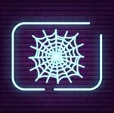 Неоновый логотип паукообразные знака паука на стене Стоковые Фото