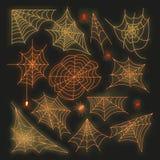 Неоновый логотип паукообразные знака паука на стене Стоковое Изображение