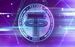 Неоновый накалять привязывает монетку USDT в ультрафиолетов цветах с узлами blockchain cryptocurrency в расплывчатой предпосылке  иллюстрация вектора