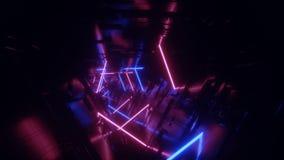 Неоновый накаляя петли коридора тоннеля чужеземца космического корабля техника сини Sci Fi светов обломок мухы движения футуристи иллюстрация штока