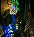 Неоновый орнамент Неаполь Италия рождества стоковое изображение rf