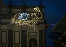 Неоновый орнамент Неаполь Италия рождества стоковые изображения