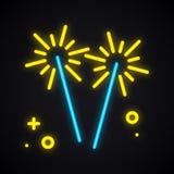 Неоновый освещая бенгальский огонь Накаляя знак огня Бенгалии Яркая партия, торжество, день рождения, тема масленицы иллюстрация вектора