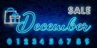 Неоновый символ на декабрь: Имя месяца с красочными элементами: Иллюстрация вектора Накаляя неоновая вывеска, яркий накалять иллюстрация вектора