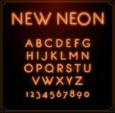 Неоновый тип алфавит шрифта Накалять в векторе С номерами иллюстрация штока