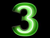 Неоновый шрифт 3 характера 3 алфавита числа зеленого света Иллюстрация штока