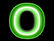 Неоновый шрифт характера o алфавита зеленого света Иллюстрация штока