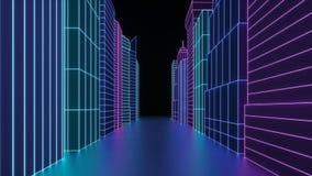 Неоновый hologram небоскребы города Футуристический представьте улицу города 3d в неоновом свете Городской пейзаж цифров в мире к стоковые фотографии rf