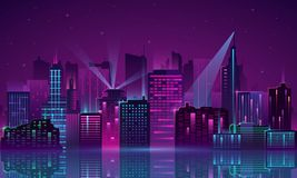 Неон города вектора бесплатная иллюстрация