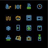 неон иконы домочадца приборов Стоковое фото RF