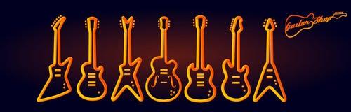 Неон музыкальных инструментов tubed комплект электрической гитары представления рок-группы идеи проекта силуэта абстрактный бесплатная иллюстрация