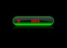 неон ненависти зеленого цвета кнопки Стоковые Фотографии RF