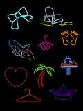 неон несколько знаков Стоковое Изображение RF