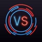 Неон против ПРОТИВ символа в круглый знак Значок вектора сражения боя конфронтации иллюстрация штока