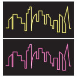 Неон силуэта плана горизонта здания Стоковое Изображение RF