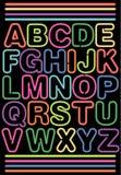 неон eps алфавита Стоковая Фотография RF