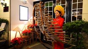 Неопознанная въетнамская женская одежда Ao dai играя T'Rung на улице в Хо Ши Мин акции видеоматериалы
