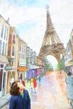 Неопознанный взгляд мальчика на граффити Парижа на стене Стоковые Изображения