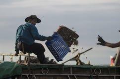 Неопознанный работник содержит рыб в тележке Стоковое фото RF