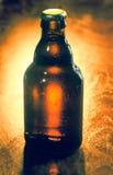 Неоткрытая немеченая бутылка пива Стоковое Изображение