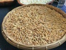 Неочищенные рисы в корзине Стоковые Фотографии RF