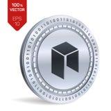 Нео равновеликая физическая монетка 3D Валюта цифров Cryptocurrency Серебряная нео монетка также вектор иллюстрации притяжки core Стоковое Изображение RF