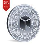 Нео Секретная валюта равновеликая физическая монетка 3D Валюта цифров Серебряная монета с нео символом изолированная на белой пре иллюстрация штока