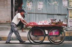 Непалец укомплектовывает личным составом нажатие тележки продавая плодоовощ через улицу Thamel Стоковая Фотография