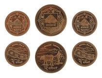 Непальские монетки изолированные на белизне Стоковые Фотографии RF