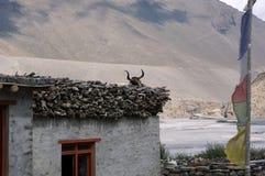 Непальский дом на банке реки Kali-gandaki на фоне гималайских гор в деревне Kagbeni стоковые фотографии rf