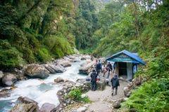 Непал - 2-ое января 2017:: Горячий источник Непал Jhinu Стоковое Изображение
