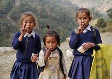 Непальские дети девушек Стоковая Фотография