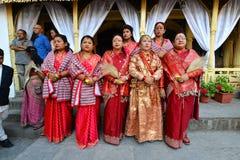 Непальские женщины в традиционных одеждах Стоковая Фотография