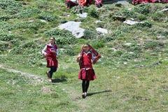 Непальские молодые девушки студентов в Непале Стоковые Фото