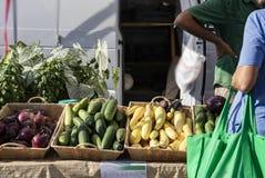 Непознаваемая женщина с сумкой над беседами руки к поставщику на рынке фермеров с сквошом и луками и огурцами в корзинах и заводе стоковые изображения