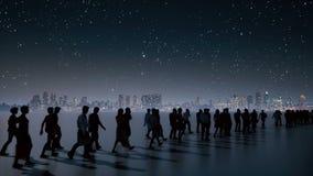 Непознаваемые бизнесмены толпы на городе ночи иллюстрация вектора