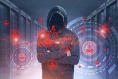 Непознаваемый хакер, сервер, HUD, сеть стоковые изображения