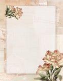 Неподвижное Printable винтажного затрапезного шикарного стиля флористическое на предпосылке зеленой книги Стоковое Фото
