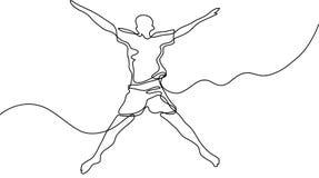 Непрерывная линия чертеж бизнесменов встречая рукопожатие иллюстрация вектора