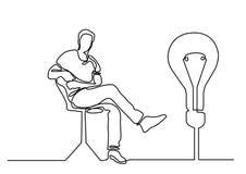Непрерывная линия чертеж сидя человека с блестящей идеей иллюстрация вектора